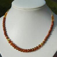 goudsteen-glaskralen ketting 1a
