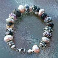 pandora armband grijs-roze1