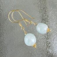 gouden oorbellen met aquamarijn